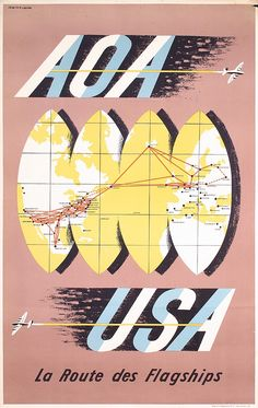 Original 1940s British AOA Airline Travel Poster - by PosterConnection Inc.