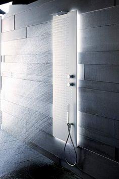 Minimalist white and grey bathroom, Acquapura shower light by Fantini _