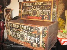 Advertising Crate, R. OVENS BAKERY CAKES CRACKERS BISCUITS, 1800'S #THEROVENSBAKERY