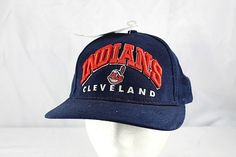 online retailer 99ff9 27e82 Cleveland Indians Baseball Cap Blue with Mascot Snapback M L NWOT   eBay