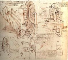 Water Lifting Devices (circa 1481) - Leonardo da Vinci is revered for his technological ingenuity. He conceptualized flying machines, an armored vehicle, concentrated solar power, an adding machine and the double hull. He even outlined a rudimentary theory of pate tectonics. He made important discoveries in anatomy, civil engineering, optics and hydrodynamics. His findings had no direct influence on later science as he never published them