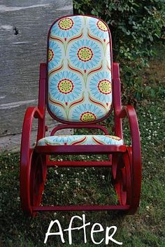 Refinished bentwood rocking chair-could do something like this on the wicker part of the other rocking chair.