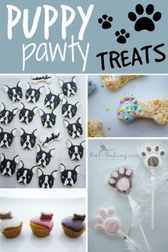 All the treats you need for a Puppy Party, or puppy themed birthday party! Dog Themed Parties, Puppy Birthday Parties, Puppy Party, Birthday Treats, Dog Birthday, Dog Themed Food, Diy Dog Treats, Homemade Dog Treats, Doggie Treats