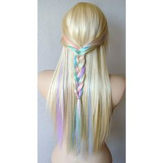Blonde Pastel Colored Hair Wig Fairy Princess Wig Long Straight Hair... ($200) ❤ liked on Polyvore featuring beauty products, haircare, hair styling tools, hair, hairstyles, hair styles, cabelos, beauty and filler