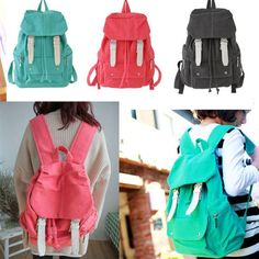 New Women's Lady's Cute Casual Canvas Shoulder Bag Backpack Satchel Red Blue | eBay