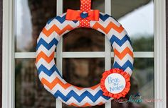 Let everyone know the party starts here with this super cute chevron, dry erase wreath!