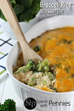 Broccoli Rice Casserole (no canned soup)! This is a deliciously cheesy dish with homemade sauce! Add chicken or ham to make it an entree!
