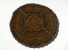Doily Brocade Tapestry Victorian Antique Gold Bronze by JudisLamps