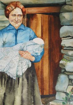 Old Mammy With Willie  Watercolour