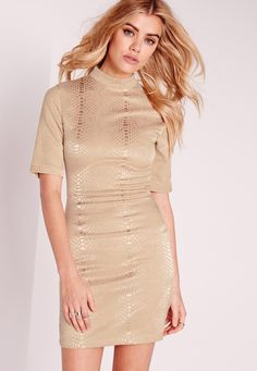 Missguided - High Neck Croc Shimmer Bodycon Dress Gold