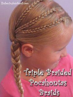 Triple Braided Pocahontas Braids #hair #girlshairstyles
