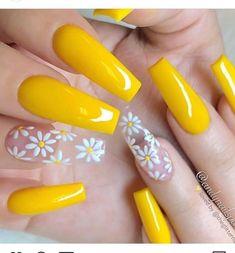 Nails, acrylic nails, coffin nails long, acrylic nail designs, nail a Acrylic Nails Yellow, Yellow Nail Art, Summer Acrylic Nails, Best Acrylic Nails, Summer Nails, Nail Ideas For Summer, Pastel Yellow, Spring Nails, Cute Acrylic Nail Designs