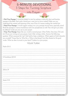Do you want to be a prayer warrior? Discover how to turn Scripture into prayer with this free spiritual growth resource. It will help you pray powerful war room prayers! Bible Study Tips, Bible Study Journal, Scripture Study, Prayer Journals, Writing Journals, Book Study, Study Notes, Journal Prompts, Faith Prayer