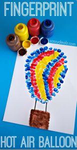 Fingerprint Hot Air Balloon Craft for Kids