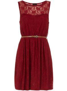 Dorothy Perkins Wine lace insert dress