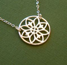 Sterling silver mandala pendant necklace for $34 at jersey608jewelry.etsy.com