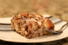 Holy Cow is this recipe awesome! Holy Cow Cinnamon Roll Casserole is a make ahead breakfast recipe for a gooey, cinnamon-y breakfast casserole.
