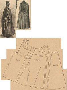 Der Bazar 1888: Travelling cape from grey cloth with similar toned satin lining and ribbon-bows; 40. under front part, 41. over front part, 42. yoke, 43. lapel, 44. back side's lining part, 45. back part, 46. collar in half size