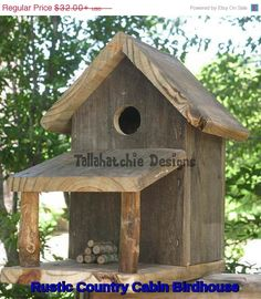 Rustic Country Cabin Birdhouse, Rustic Birdhouse, Primitive Birdhouse, Barnwood… More Reclaimed Barn Wood, Old Wood, Rustic Barn, Bird House Plans, Birdhouse Designs, Bird Houses Diy, Wood Projects, Woodworking Projects, Woodworking Classes