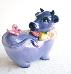 Vintage Cookie Jar Purple Cow Metlox California by TakingShape, $250.00