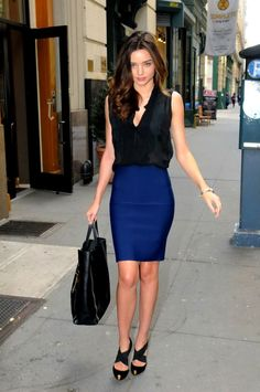 Miranda Kerr. professional, classy, sexy outfit.  love the blue pencil skirt.