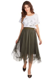Musical Muse Skirt. Songwriting in the forest is even more inspirational in this moss-green tulle skirt! #gold #prom #modcloth