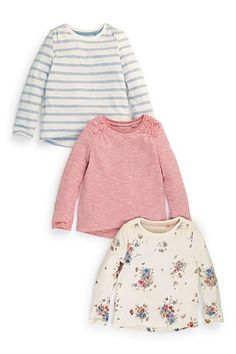 """Girls Tops Online - 3 months to 6 years - """"Next Floral, Stripe And Crochet Trim Tops Three Pack (3mths-6yrs)"""""""