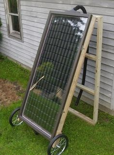 Build Your Own Soda Can Solar Heater. Perfect for heating a Greenhouse or a small garage The basic premise of the project is to build a simple box out of some 2x4s, stack a hundred or two black-painte