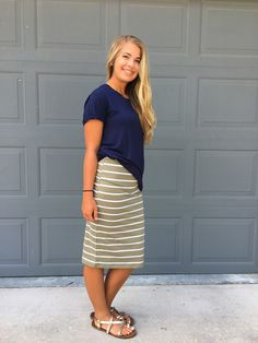 Stripe Midi Skirt-Olive