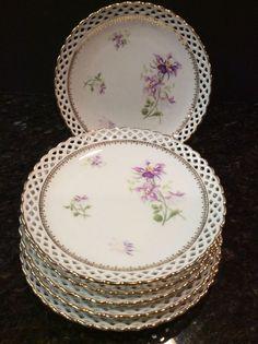 Cream Porcelain China Push Plate Country Rose Design