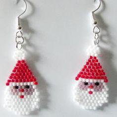 Christmas Miyuki Seed Bead Snowman Drop Earrings | Etsy Christmas Tree Beads, Christmas Craft Show, Christmas Earrings, Christmas Jewelry, Perfect Christmas Gifts, Seed Bead Patterns, Beading Patterns, Bead Loom Designs, Brick Stitch Earrings