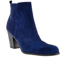 Marc Fisher Flex Leather Stretch Ankle Boots Frenchie Navy Suede 11M NEW A268096