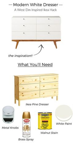 Modern White Dresser A West Elm Inspired Ikea Hack is part of Ikea diy - Taking a simple pine dresser and turning it into a modern white piece! This is the best West Elm inspired Ikea hack out there! Hacks Diy, Ikea Hacks, Ikea Pine Dresser, West Elm Dresser, Ikea Dresser Hack, Dresser Ideas, Wood Dresser, Ikea Nightstand, Narrow Dresser