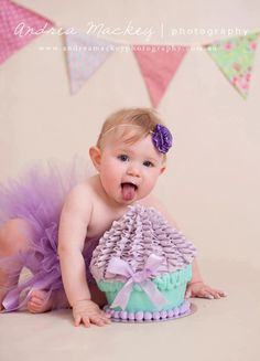 Cake Smash Photo Session Inspiration First Birthday Girl Pink Purple Cupcake Tutu Bunting Headband Floorboards Studio Lifestyle Location Kirra Photography
