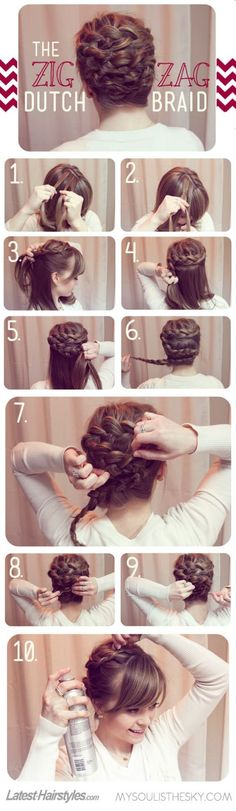 Zig zag dutch braid. Spreading it out once you're finished makes it look like a way nice bun.