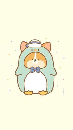 Cute Cartoon Drawings, Cute Cartoon Animals, Kawaii Drawings, Animal Drawings, Corgi Wallpaper, Dog Wallpaper Iphone, Corgi Doodle, Christmas Phone Wallpaper, Pusheen Cat