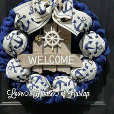 Burlap Wreath Nautical Wreath Anchor Wreath by Loveshouseofburlap