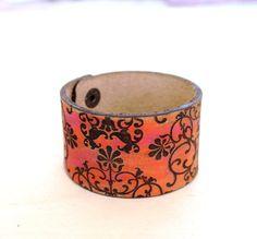 Floral leather cuff coral and brown bracelet Art Nouveau leather bracelet