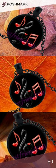 "Musical Notes Cabochon Pendant Necklace  Musical Notes Cabochon Pendant Necklace   .  Musical Notes Cabochon Pendant Necklace   .  Materials: Alloy & Glass  Chain Length: 18""  .  9G  . Jewelry Necklaces"