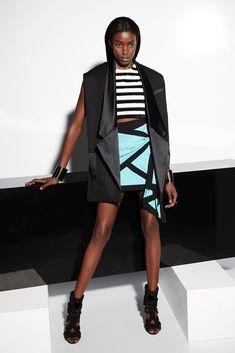 Balmain | Resort 2015 | 09 Black waistcoat, monochrome striped sleeveless top and green/black mini skirt