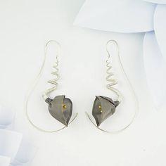 Spiral earrings silver wedding flower earrings silver