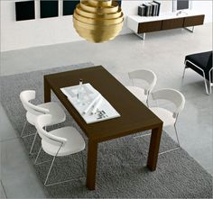 Simple Modern Dining Room Table and Chairs Dining Table With Bench, Modern Dining Room Tables, White Dining Chairs, Dining Room Chairs, Modern Chairs, Table And Chairs, Contemporary Dining Room Furniture, Dining Room Furniture Sets, Leather Chairs