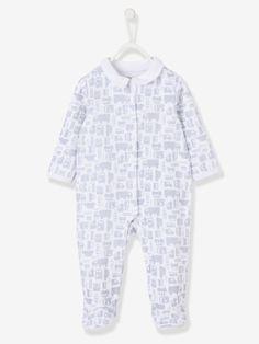 Pijama estampado de terciopelo automáticos delante bebé blanco estampado - Vertbaudet
