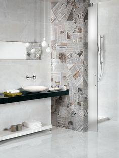 I love the shower wall. So much nicer than glass and it lets you build right up to it. Beaumont Tiles again. Master Bathroom Shower, Bathroom Renos, Laundry In Bathroom, Bathroom Inspo, Bathroom Renovations, Bathroom Wall, Modern Bathroom, Bathroom Lighting, Bathroom Remodelling