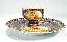 Dresden Lamm Cobalt Blue Snack Set Cup and Saucer