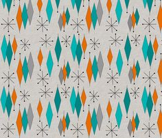 Colorful fabrics digitally printed by Spoonflower - Mid-Century Modern Diamond Pattern