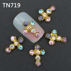 10 Pz di Lusso Oro Colorato Croce Strumenti Nail Sereno Strass Per Unghie Lega Glitters DIY Del Chiodo 3D Decorazioni di Arte TN719