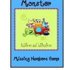 Adding and Subtracting Game  What numbers are missing from the number sentence?   This is a monster themed addition and subtration game board!!...