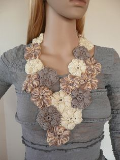Crochet jewelry  Flower scarflette