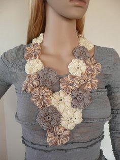 Crochet jewelry  Flower scarflette